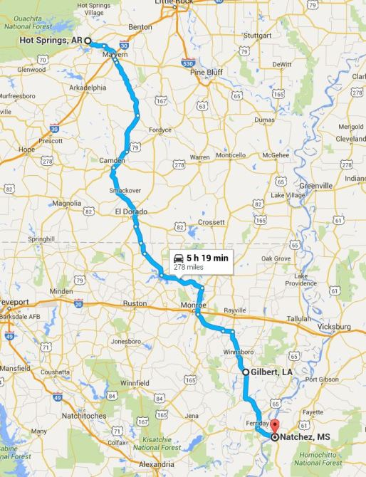 2016-05-19 Google Hot Springs to Natchez