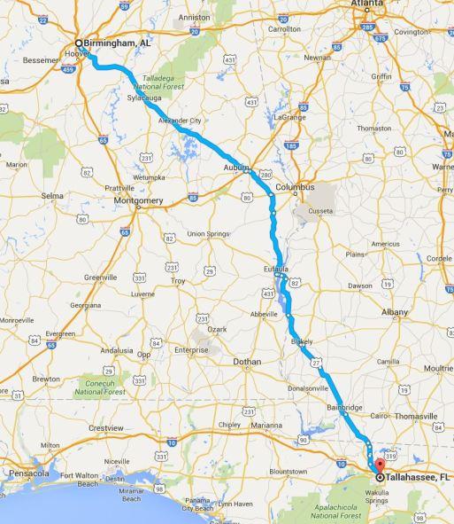 2016-05-25 Google Birmingham to Tallahassee
