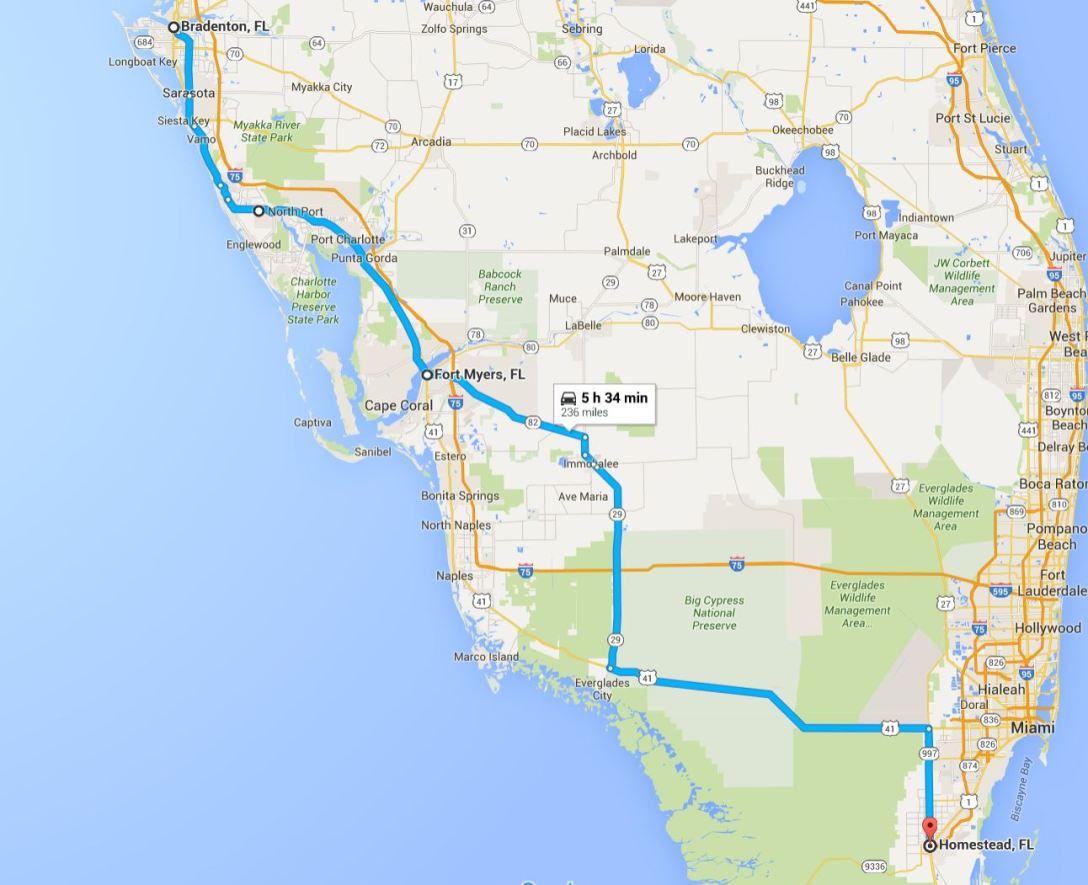 2016-05-27 Google Bradenton to Homestead