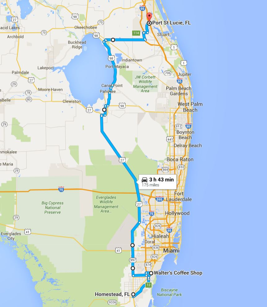 2016-05-29 Google Homestead to Port St. Lucie, FL