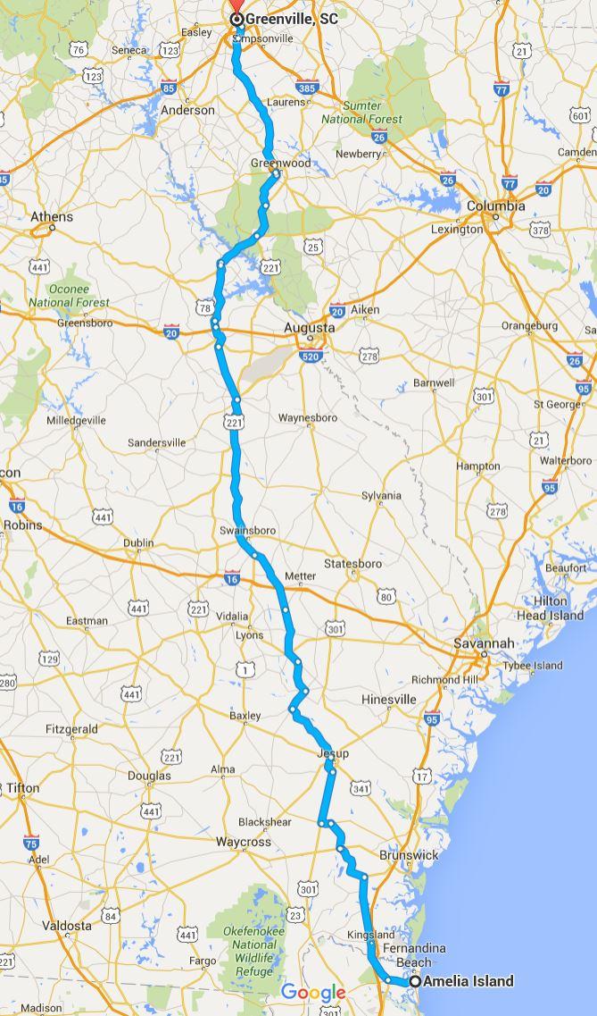 2016-05-31 Google Amelia Island, FL to Greenville, SC