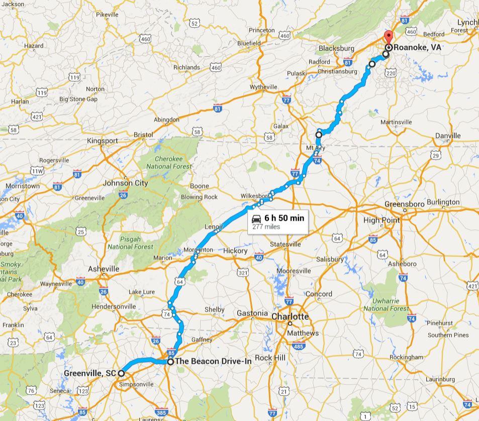 2016-06-01 Google Greenville, SC to Roanoke, VA