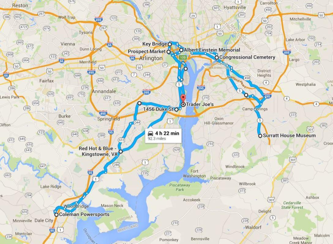 2016-06-04 Google Alexandria, VA to Arlington, VA to DC to Clinton, MD