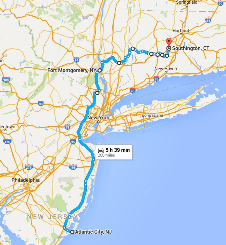 2016-06-07 Google Atlantic City, NJ to Southington, CT