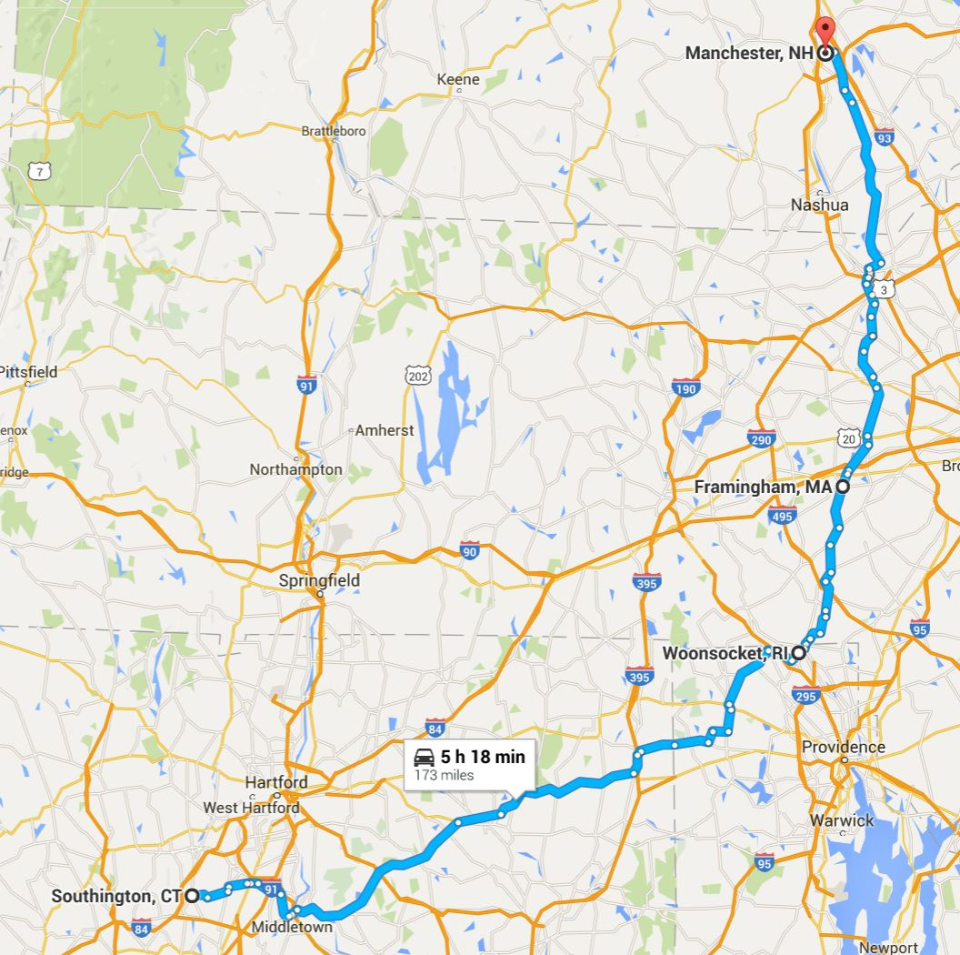 2016-06-08 Google Southington, CT to Manchester, NH