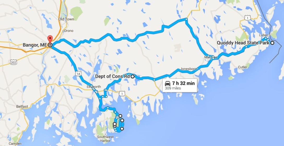 2016-06-10 Google Bangor, ME to Quoddy Head, ME to Acadia to Bangor, ME