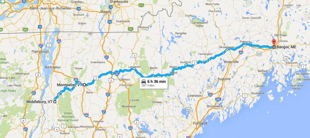 2016-06-11 Google Bangor, ME to Middlebury, VT