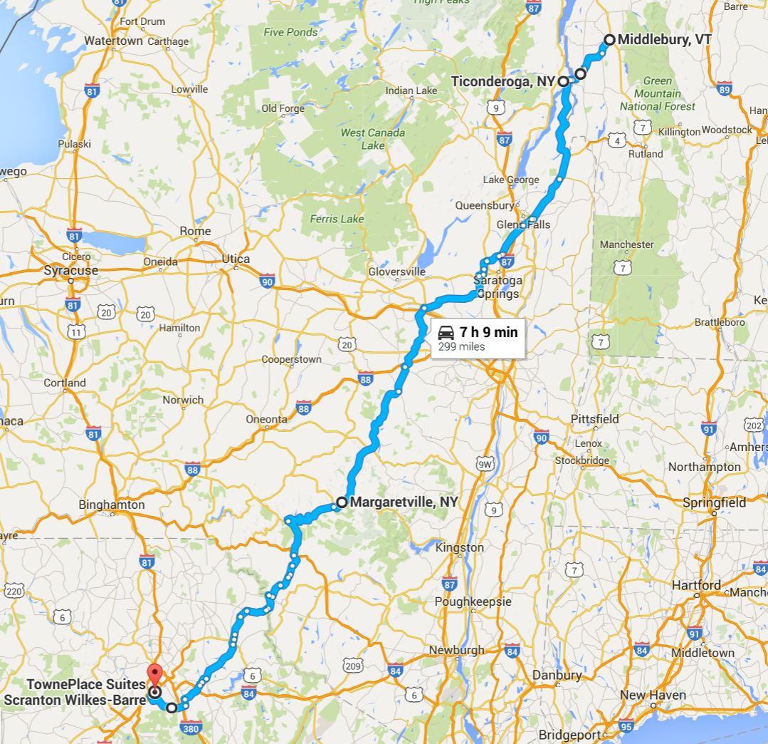 2016-06-12 Google Middlebury, VT to Scranton, PA