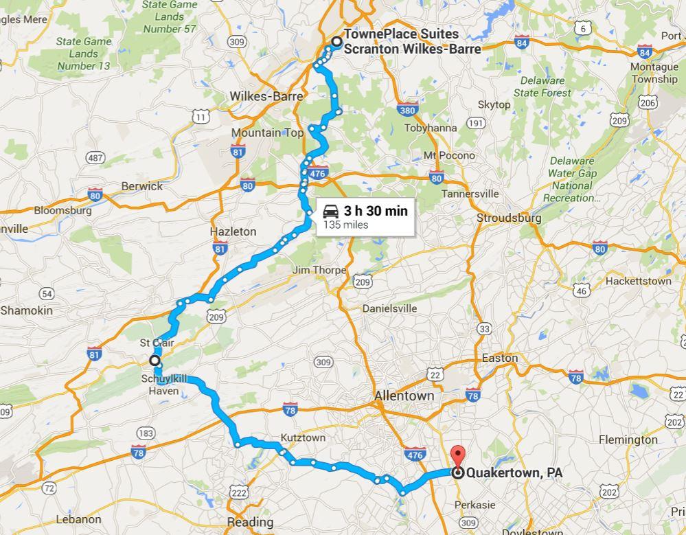 2016-06-13 Google Scranton, PA to Quakertown, PA