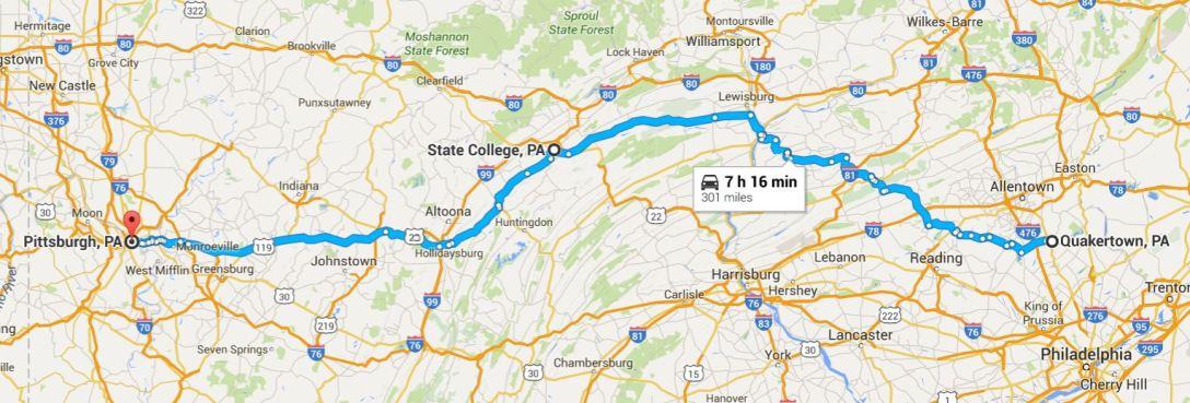 2016-06-14 Google Quakertown, PA to Pittsburgh, PA