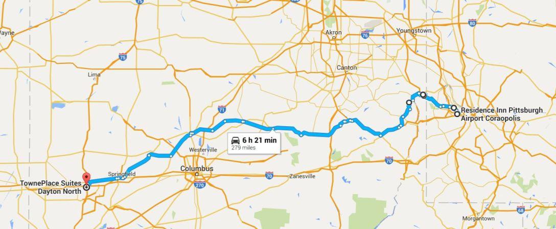 2016-06-17 Google Pittsburgh, PA to Dayton, OH
