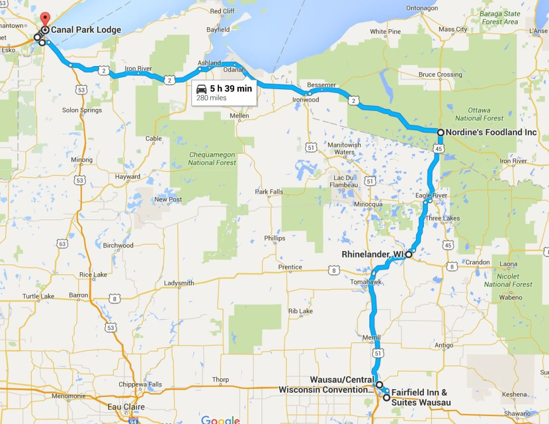 2016-06-22 Google Wausau, WI to Duluth, MN