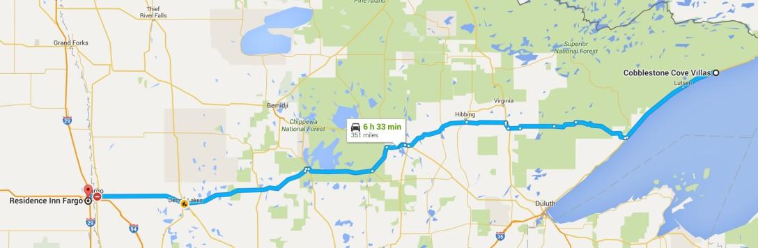 2016-06-27 Google Grand Marais, MN to Fargo, ND