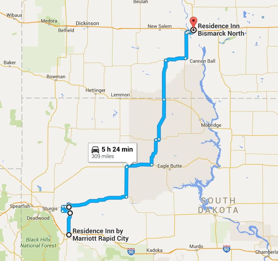 2016-06-29 Google Bismarck, ND to Rapid City, SD
