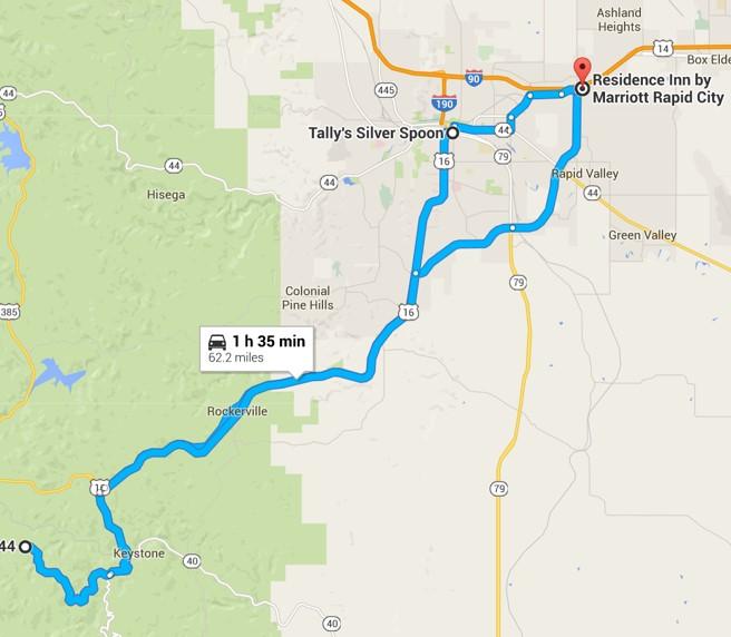 2016-06-30 Google Bismarck, ND to Mount Rushmore, SD
