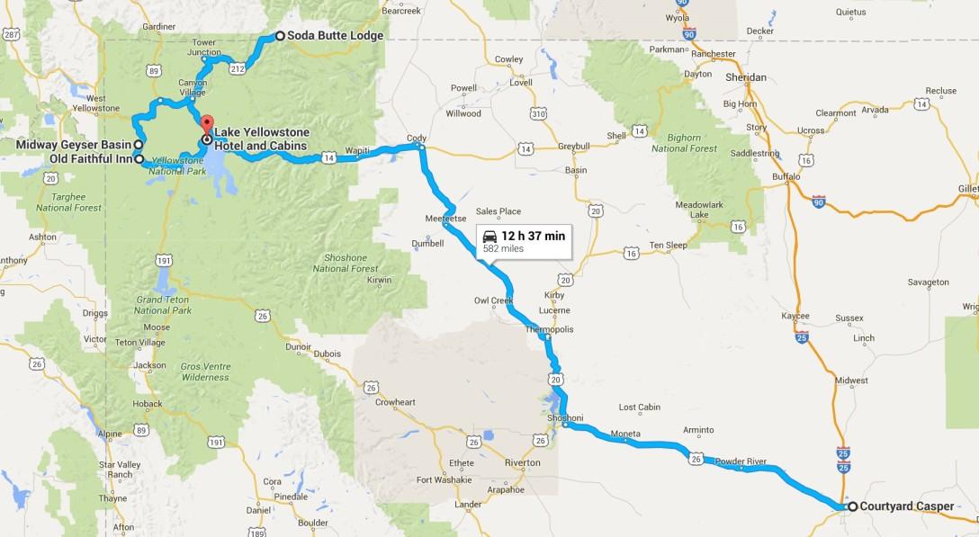 2016-07-02-04 Google Casper, WY to Yellowstone