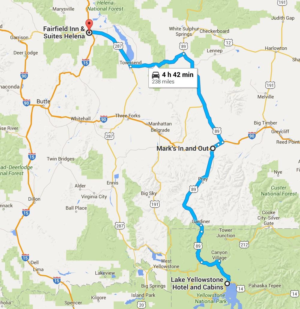 2016-07-05 Google Yellowstone, WY to Helena, MT