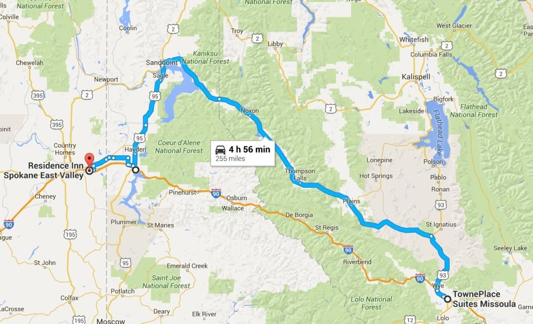 2016-07-07 Google Missoula, MT to Spokane, WA