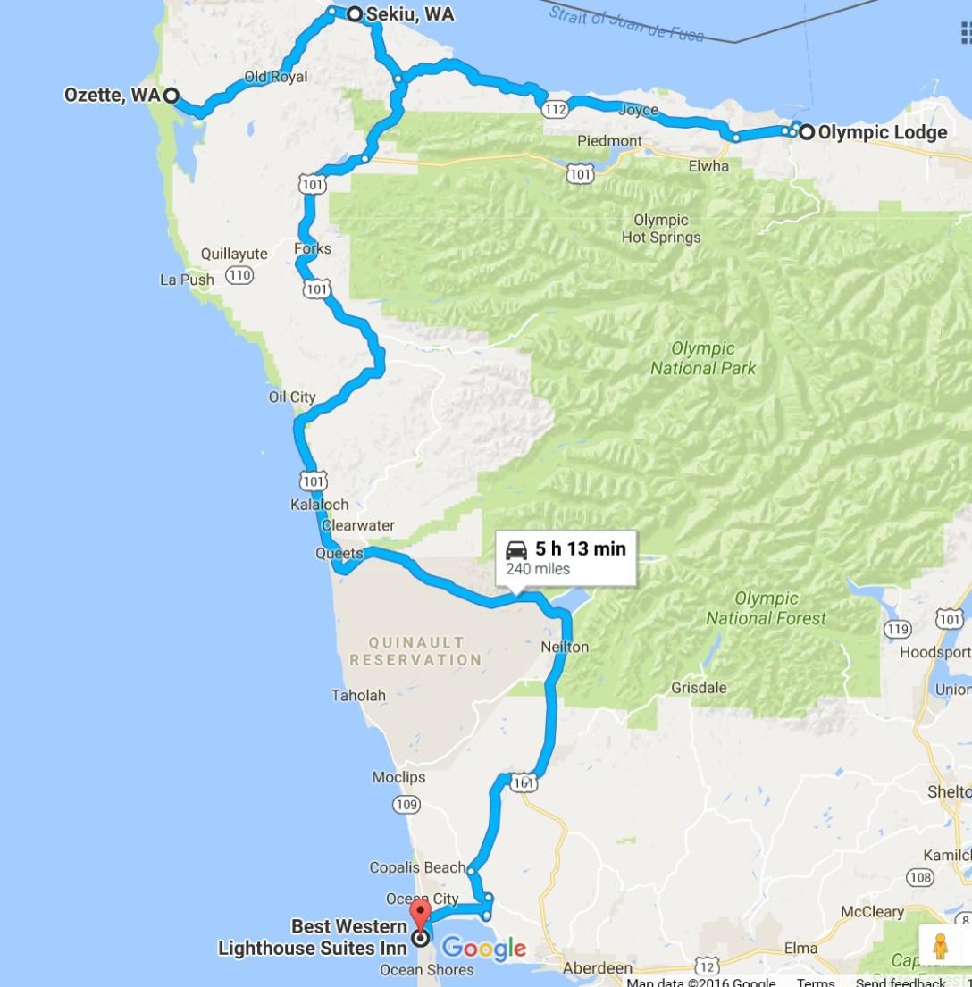 2016-07-25 Google Port Angeles, WA to Ocean Shores, WA