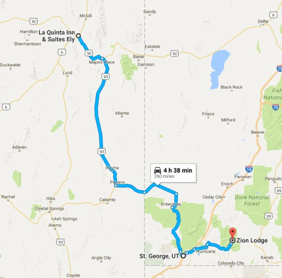 2016-08-01 Google Ely, NV to Zion