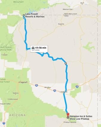 2016-08-07 Google Lake Powell to Show Low, AZ