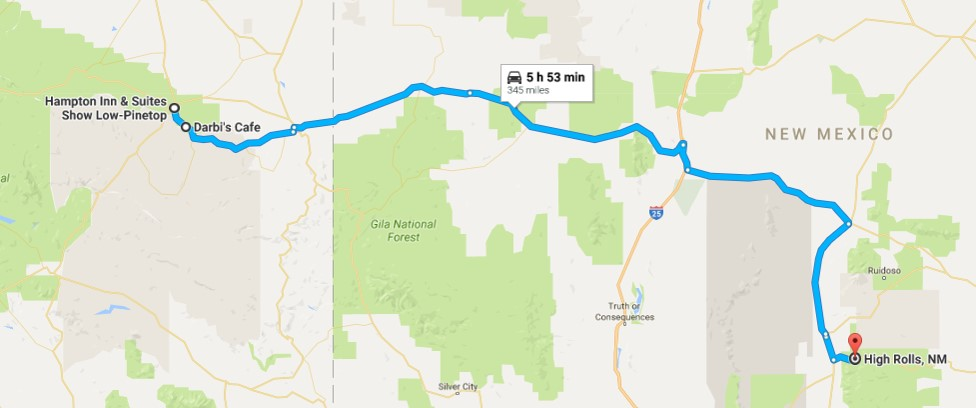 2016-08-08 Google Show Low, AZ to High Rolls, NM