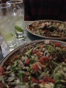 Sadie's famous margarita and, Blue Corn Carne Adovada Enchiladas